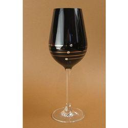 Czarne kieliszki do białego wina z kryształkami Swarovski Elements