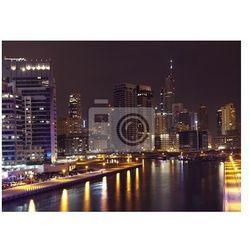 Fototapeta Miasto scape w czasie nocy. Panoramic scene, Dubai.