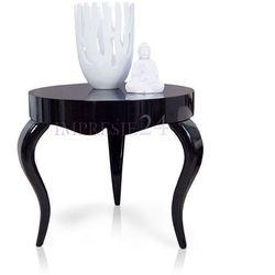 Czarny, okrągły, drewniany stolik na wysoki połysk, gięte nogi.