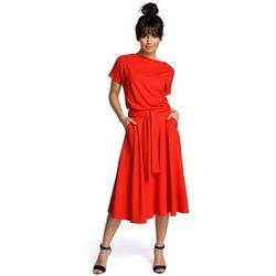 9d81a85b5be015 suknie sukienki granatowa letnia sukienka midi z szerokim dolem ...