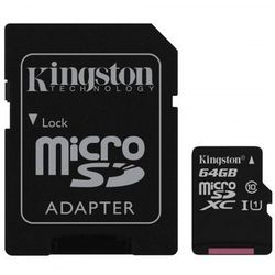 Karta Kingston 64GB microSDXC + Adapter C10 SDC10G2/64GB