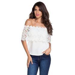Biała bluzka z gipiurową koronką   białe bluzki damskie