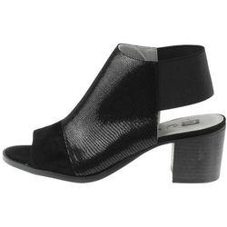 Czarne sandały na obcasie zabudowane na gumce Nessi CoZaButy - Czarne lizzaro mt-30 (-12%)