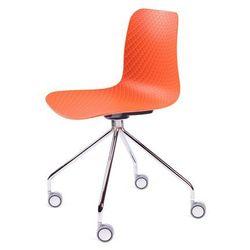 Krzesło KRADO ROLL - Pomarańczowe, nogi metalowe na kółkach.