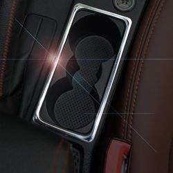 Stainless Steel Car Interior Water Cup Holder Frame Decoration Cover Sticker For Skoda Octavia a7 a 7 2015 2016 Auto Accessories
