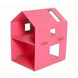 Różowy tekturowy domek dla lalek