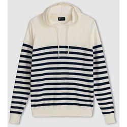 Sweter w paski z kapturem, 100% bawełny