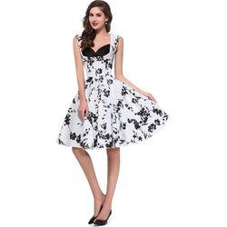 Kwiatowa sukienka w stylu retro z czarnymi kwiatami | sukienki w kwiaty