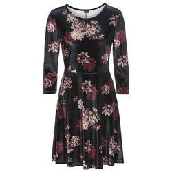 e9a29fc90a Sukienka aksamitna w kwiatowy deseń bonprix czarno-ciemnoczerwono-stary róż  w kwiaty