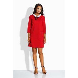 743f8bfb02 suknie sukienki czerwona czarna skromna laczona sukienka w koty z ...
