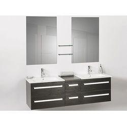 Meble lazienkowe czarne - 2 umywalki ceramiczne + 2 lustra - MADRID