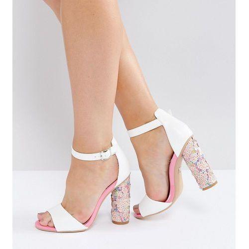 d57fa4f2704 Lost Ink Wide Fit Pink Sequin Heeled Sandals - Multi - porównaj ...