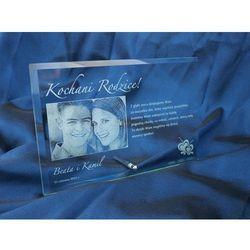 Ramka szklana z fotografią 16x25cm - POZIOMA - podziękowanie dla rodziców - rocznica ślubu