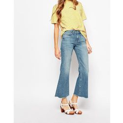 M.i.h Jeans Lou Crop Bell Bottom Jeans With Raw Edge - Blue