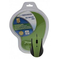 Mysz przewodowa z podkładką żelową Zielona Esperanza EM125G