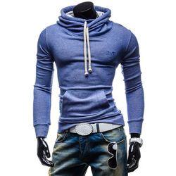 Niebieska bluza męska z kapturem z nadrukiem Denley 4642 - NIEBIESKI Bluzy - 39,99 (-43%)