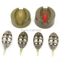 Carp Fishing Inline Method Feeder Set - 4 Feeders 15g,20g,25g,35g & 1 Mould , Extra free 1 Quick Release Mould A006