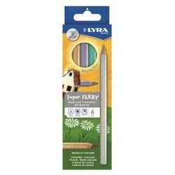 Kredki ołówkowe trójkątne, grube Lyra Super FERBY 6 kolorów metaliczne