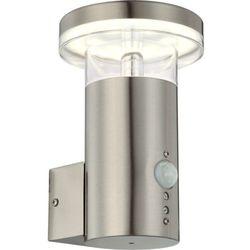 Zewnętrzna LAMPA ścienna SERGIO 34145S Globo metalowa OPRAWA elewacyjna LED IP44 outdoor z czujnikiem ruchu srebrny