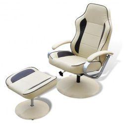 Odchylany fotel TV ze sztucznej skóry kremowy i brązowy z podnóżkiem Zapisz się do naszego Newslettera i odbierz voucher 20 PLN na zakupy w VidaXL!