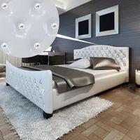vidaXL Białe wysoce połyskujące łóżko sztuczna skóra akrylowe kryształowe guziki+2 materace z pianki 180cm Darmowa wysyłka i zwroty