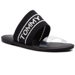 ad5b54bfd6fc1 Klapki TOMMY JEANS - Knit Tommy Jeans Flat Sandal EN0EN00533 Black 990