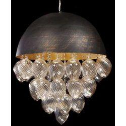 LAMPA wisząca TIARRA LDP 5058 - 4 Lumina Deco kryształowa OPRAWA ŻYRANDOL crystal czarny przezroczysty