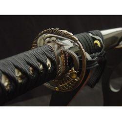 MIECZ SAMURAJSKI KATANA , STAL WYSOKOWĘGLOWA 1095 I WARSTWOWANA RĘCZNIE KUTA, PIĘKNA TSUBA R405