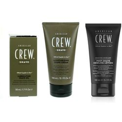 American Crew Shave Oil, Shave Cream and Shave Cooling Lotion | Zestaw do golenia dla mężczyzn: olejek 50ml + krem 150ml + lotion 150ml