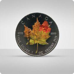 """Kanadyjski Liść Klonowy 1 uncja srebra - kolor """"jesień"""""""