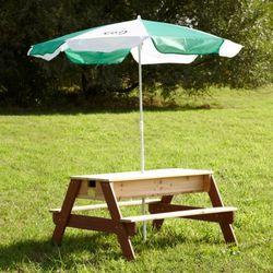 AXI Drewniany stolik piknikowy z parasolk? + piaskownica piasek/woda Darmowa wysy?ka i zwroty