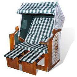 vidaXL Leżak, fotel plażowy, składany, zielono biała krata Darmowa wysyłka i zwroty
