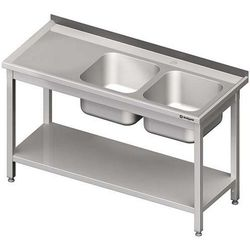 Stół ze zlewem dwukomorowym z półką STALGAST 1200x700x850 prawy