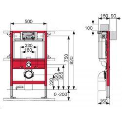 TECEprofil - Uniwersalny stelaż podtynkowy do WC ze spłuczką podtynkową uruchamianą z góry lub z przodu, wysokość 820 mm 9.300.001