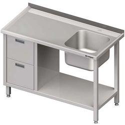 Stół ze zlewem jednokomorowym z dwiema szufladami i półką STALGAST 1000x700x850 prawy
