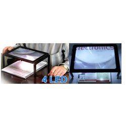 Duża Lupa A4 do Czytania (powiększenie 3x) + 4x LED.
