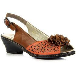 RIEKER 62175-38 skórzane brązowe sandały damskie ażurowe