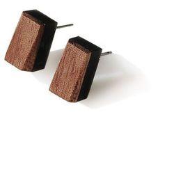 kolczyki prostokąty z drewnem orzecha