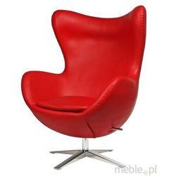 Fotel Jajo wykonany z czerwonej skóry ekologicznej